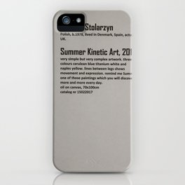 Dariusz Stolarzyn Summer Kinetic Art 2017 Description iPhone Case