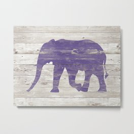 Violet Elephant on White Wood A222c Metal Print