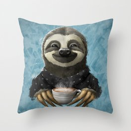 Sloth smilling with coffee latte Throw Pillow