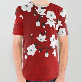 Red Black And White Cherry Blossoms All Over Graphic Tee