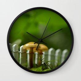 Along The Fence We Go...Mushroom Photograph Wall Clock