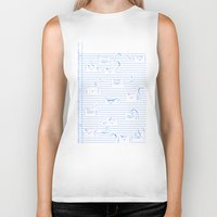 notebook Biker Tanks featuring Fuzzy Homework {clean} by Tobe Fonseca