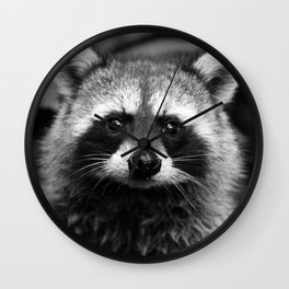 Racoon B & W Wall Clock