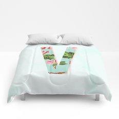 Floral Letter V - Letter Collection Comforters