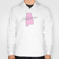 alabama Hoodies featuring Alabama - Pink by Oh Happy Roar - Emily J. Stivers