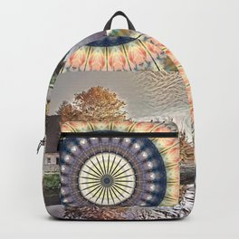 House on Canal with Mandala Backpack