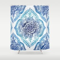 indian Shower Curtains featuring Indian Ink - in Blues by micklyn