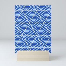 Blue (RYB) - blue - Geometric Seamless Triangles Pattern Mini Art Print