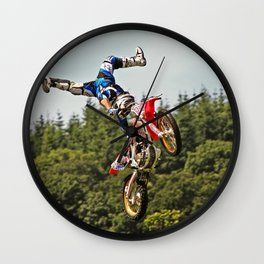 Motocross stuntman Wall Clock