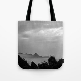 Violent Shores in Black and White Tote Bag