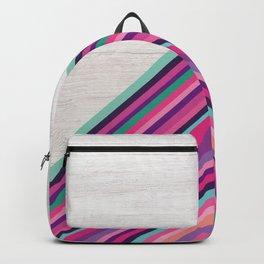 Wood and Bright Stripes, Chevron - Geometric Design Backpack