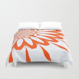 The Modern Flower White & Orange Duvet Cover