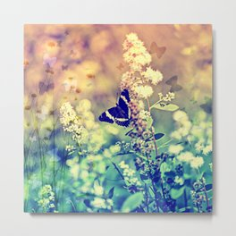 Swallowtail Butterfly Fantasy Garden Teal and Orange Metal Print