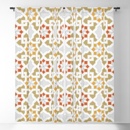 red, orange, white, brown -  Oriental design - orient  pattern - arabic style geometric mosaic Blackout Curtain