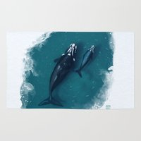 whales Area & Throw Rugs featuring whales by Daniela Di Gennaro