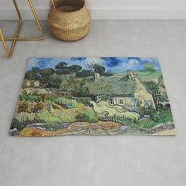 Vincent van Gogh - Thatched Cottages at Cordeville Rug
