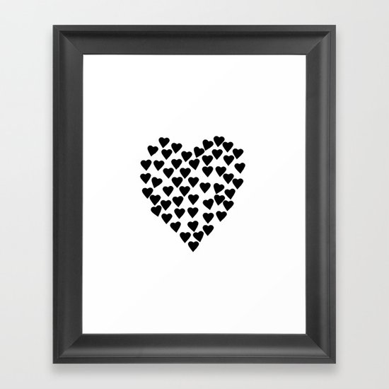 Hearts Heart Black and White Framed Art Print