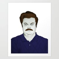 swanson Art Prints featuring SWANSON by austinthomas