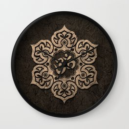 Aged Stone Lotus Flower Yoga Om Wall Clock