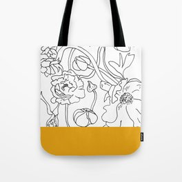 VESSEL - Floral Ink in Mustard - Cooper and Colleen Tote Bag
