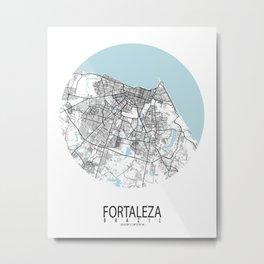 Fortaleza City Map of Brazil - Circle Metal Print