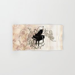 Music, piano with key notes and clef Hand & Bath Towel