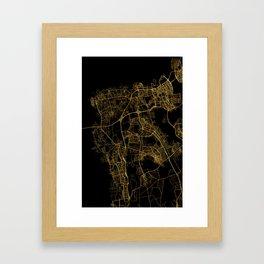 Beirut map, Lebanon Framed Art Print