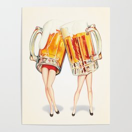 Cheers! Beer Pin-Ups Poster