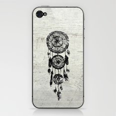 Hipster Lace black dreamcatcher on white wood iPhone & iPod Skin