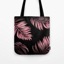 Rose Pink Palm Leaves Tote Bag