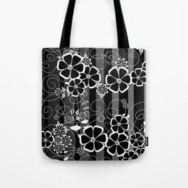 Abstract white and black flowers with background Tote Bag