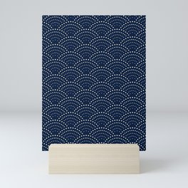 Japanese Blue Wave Seigaiha Indigo Super Moon Pattern Mini Art Print