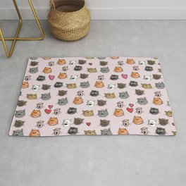 cats pattern pink Rug