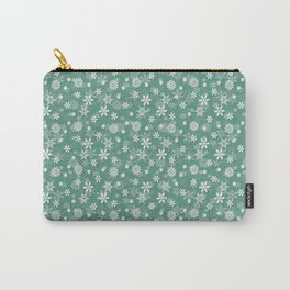 Christmas Green Holly and Ivy Snow Flakes Carry-All Pouch