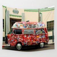 sticker Wall Tapestries featuring Surfing Sticker Van by John Lyman Photos