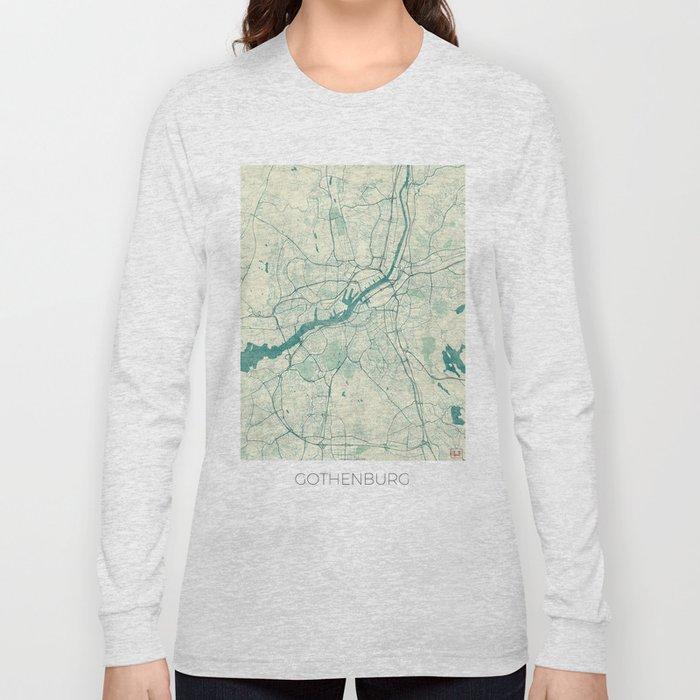 Gothenburg Map Blue Vintage Long Sleeve T-shirt