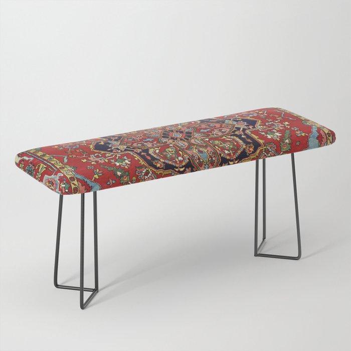 Heriz  Antique Persian Rug Print Bench