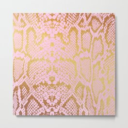 Pink and Gold Snakeskin Print Metal Print