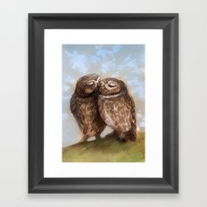 Owls in Love Framed Art Print