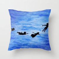 neverland Throw Pillows featuring Neverland by Sierra Christy Art
