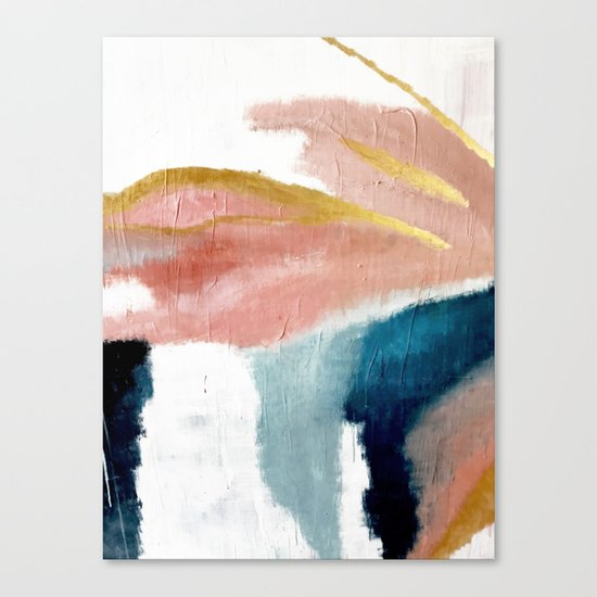 Exhale: a pretty, minimal, acrylic piece in pinks, blues, and gold by blushingbrushstudio