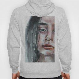 Watercolor portrait, art work, beautiful original girl, painting, modern Hoody