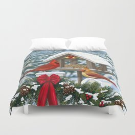 Red Cardinals and Christmas Bird Feeder Duvet Cover