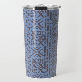 Mudcloth No. 2 in Dusty Blue + Taupe Brown Travel Mug