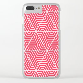 Sizzling Red - fuchsia - Geometric Seamless Triangles Pattern Clear iPhone Case