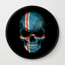 Dark Skull with Flag of Iceland Wall Clock