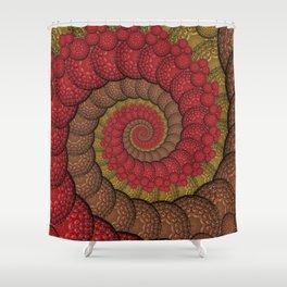 Red and Orange Hippie Fractal Pattern Shower Curtain