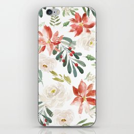 White roses & rusty-red Christmas poinsettia pattern iPhone Skin