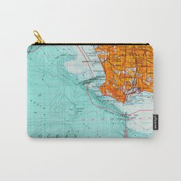 Long Beach colorful old map Carry-All Pouch