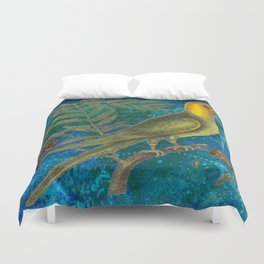 Carolina Parakeet with Cypress, Antique Natural History and Botanical Duvet Cover